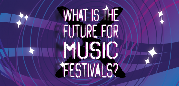 """Purple/Blue background with lines going round in a circle, 8 diamond sparkles, and the centred text """"What is the Future for Music Festivals?"""" in white with a black X displayed behind the text"""