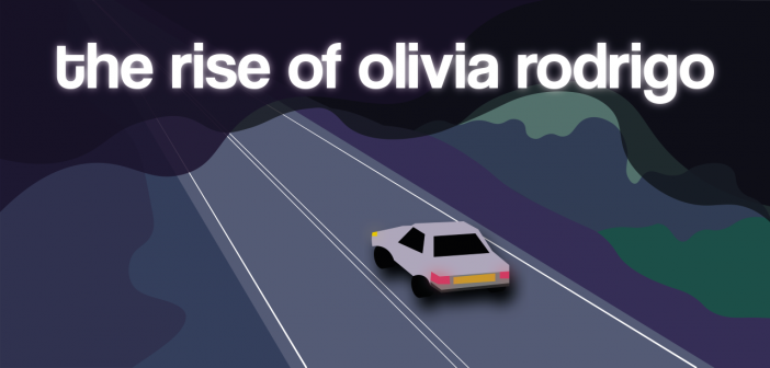 "Grey car driving on a road on a gloomy night, with the text, ""the rise of olivia rodrigo"" in a white glow in the top third of the image"