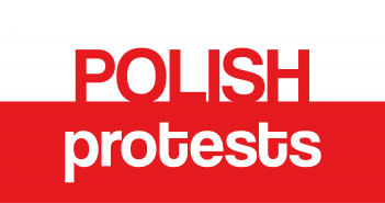 The polish flag (white on top and red beneath) with the words Polish Protests written on top.