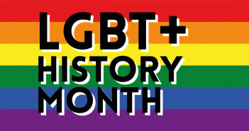 LGBT+ History Month written on a background of the rainbow flag