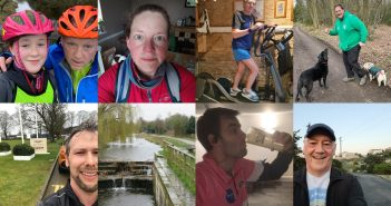 A collection of selfies showing different activities of raising money