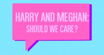 """Pink speech bubble on a blue background with text reading """"Harry and Meghan: Should we care?"""""""