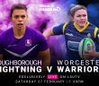 Loughborough Lightning and Worcester Warriors Players running, edited in front of a pink and blue cloud of smoke