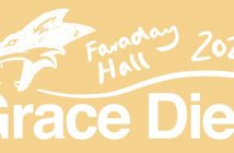 white drawing of a fox's head on a light orange background, 'Grace Dieu' written underneath and 'Faraday Hall 2021' written to the side