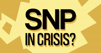 Text 'SNP in Crisis?' on a yellow background