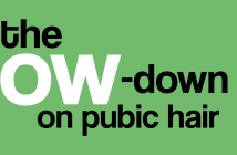 The title 'the low-down on pubic hair' is set upon a sage-green background.
