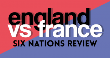 The title 'England vs France six nations review' is set upon a red and blue split background
