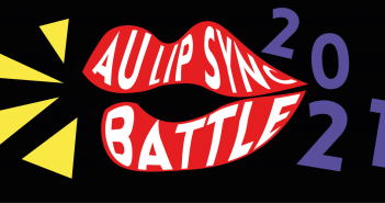 A pair of lips with AU Lip Sync battle written inside. with a purple 2021 to the right and yellow lines coming out of the lips mimicking song.