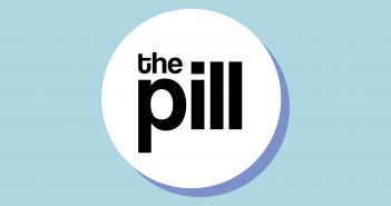 The title 'The Pill' is positioned in the middle of a pill set upon a blue background.