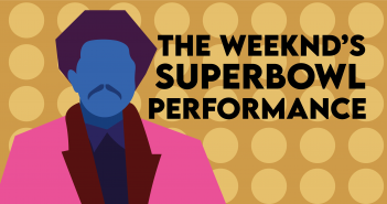 "Gold Background with yellow circles, with an outlined portrait of The Weeknd with blue skin and wearing a pink suit, with the text ""The Weeknd's Superbowl Performance"" in black"