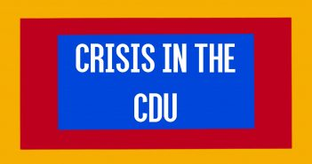 Text reading 'crisis in the cdu' on a background of blue, red and yellow
