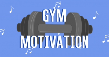 "Blue background, with white music notes floating around and a grey dumbbell in the middle, with the text ""Gym Motivation"" in white"