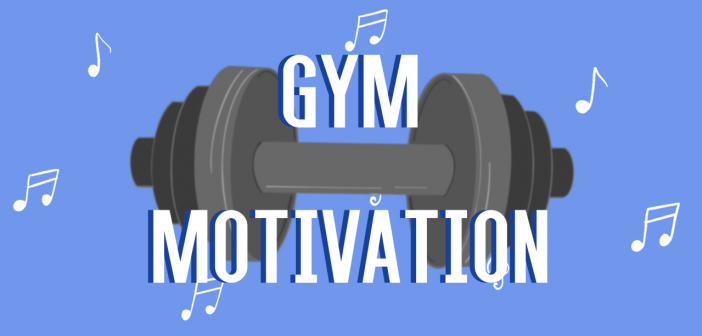 """Blue background, with white music notes floating around and a grey dumbbell in the middle, with the text """"Gym Motivation"""" in white"""