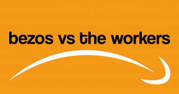 Text reading 'bezos vs the workers' on an orange background, with an inverted version of the amazon logo resembling a sad face