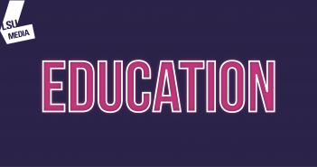 The word 'education' is written in bright pink, set upon a dark purple background.