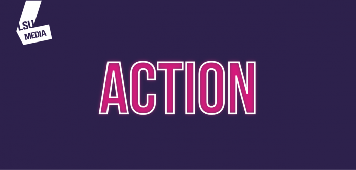 The word 'action' is written in bright pink, set upon a dark purple background.