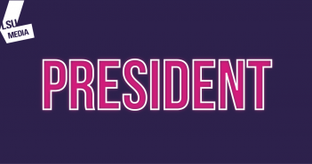 The word 'president' is written in bright pink, set upon a dark purple background.