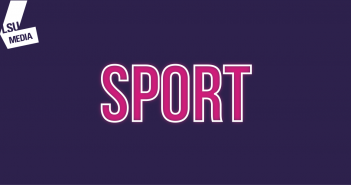 The word 'sport' is written in bright pink, set upon a dark purple background.