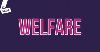 The word 'welfare' is written in bright pink writing which is set upon a dark purple background.