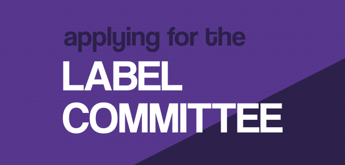"""The words """"applying for the label committee"""" are set upon a dark purple background"""