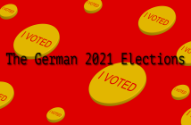 Text reading 'German 2021 Elections' on a background of red and yellow
